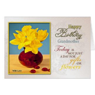 Carte d'anniversaire d'or de jonquilles pour la