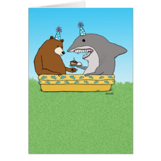 Carte d'anniversaire drôle d'ours et de requin