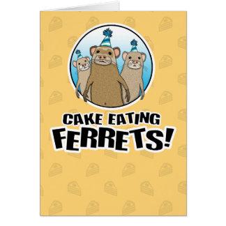 Carte d'anniversaire drôle : Furets de gâteau