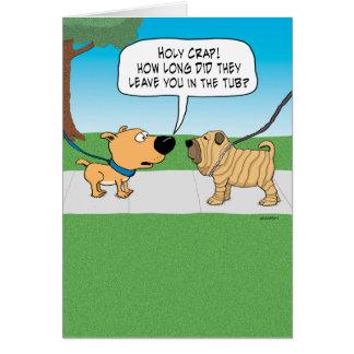 Carte d'anniversaire ridée drôle de chien