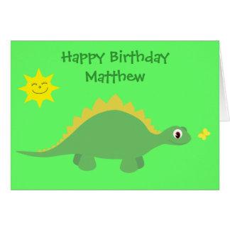Carte d'anniversaire verte et jaune mignonne de