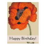 Carte d'anniversaire vintage de pavot de cartes postales