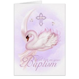 Carte de baptême avec le cygne rose