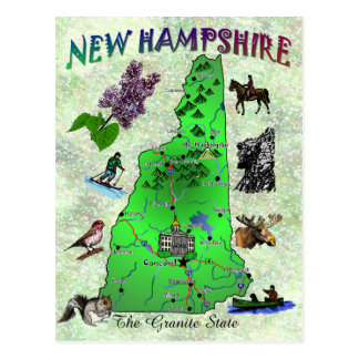 Carte de carte d'état du New Hampshire Carte Postale