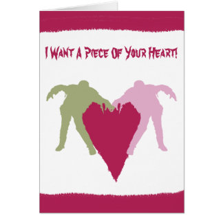 Carte de coeur d'amour de zombi