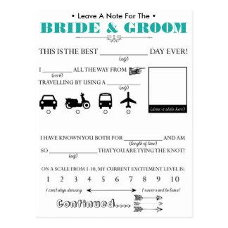 Carte de conseil d'invité de mariage cartes postales