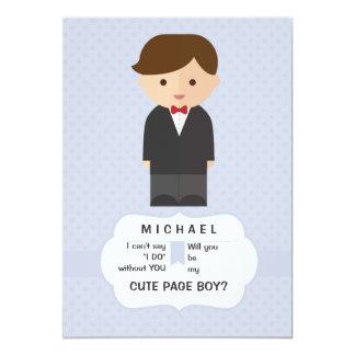 Carte de demande de garçon de page carton d'invitation  12,7 cm x 17,78 cm