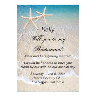 Carte de demoiselle d'honneur de mariage de plage carton d'invitation  12,7 cm x 17,78 cm