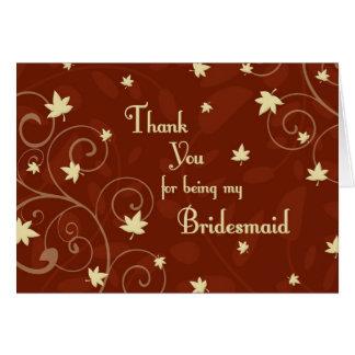 Carte de demoiselle d'honneur de Merci de mariage
