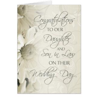 Carte de félicitations de mariage de fille et de b