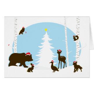 Carte de fin de année de Noël un | de région boisé