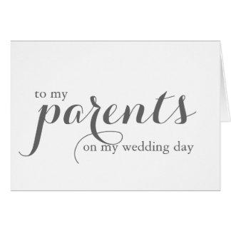 Carte de jour du mariage pour des parents