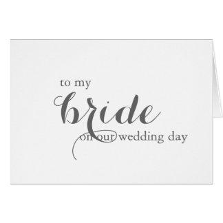 Carte de jour du mariage pour la jeune mariée
