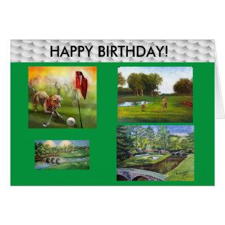 Carte de joyeux anniversaire de golfeurs !