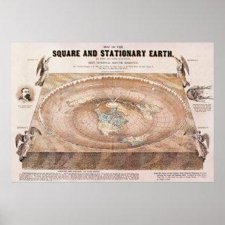 Carte de la terre carrée et stationnaire par Fergn Poster