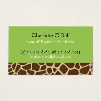 carte de maman de vert d'impression de girafe