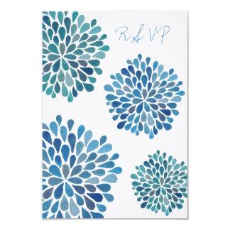 Carte de mariage florale bleue de fleurs de RSVP Invitation Personnalisable