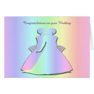 Carte de mariage lesbienne de fierté en pastel
