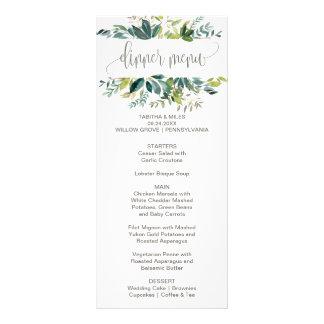 Carte de menu de dîner de feuillage