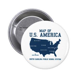 Carte de Mlle la Caroline du Sud des USA Amérique Macaron Rond 5 Cm