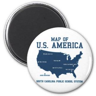 Carte de Mlle la Caroline du Sud des USA Amérique Magnet Rond 8 Cm