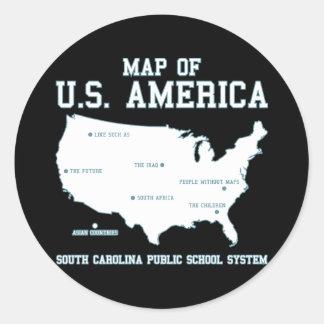 Carte de Mlle la Caroline du Sud des USA Amérique Sticker Rond