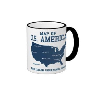 Carte de Mlle la Caroline du Sud des USA Amérique Mug Ringer