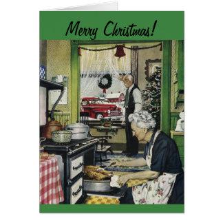 Carte de Noël à la maison vintage démodée