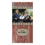 Carte de Noël argentée en bois de photo de pays de Cartes De Vœux Avec Photo