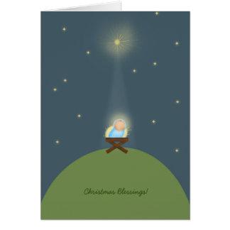 Carte de Noël avec la nativité de Jésus de bébé