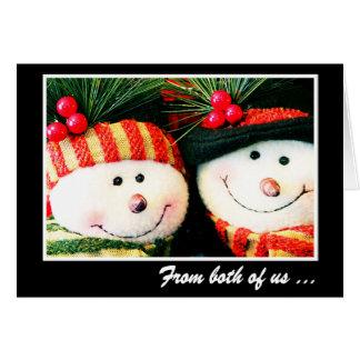 Carte de Noël--Bonhomme de neige et Snowwoman