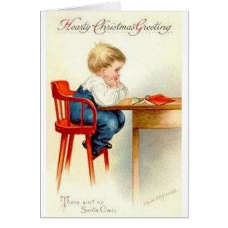 Carte de Noël boudante vintage de garçon de Noël