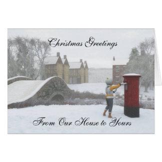 Carte de Noël britannique de village d'hiver de