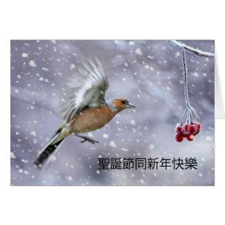 Carte de Noël chinoise avec la scène d'hiver de pi