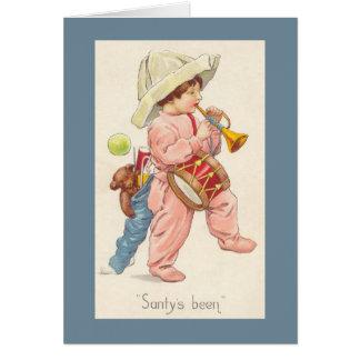 Carte de Noël de bugle de garçon