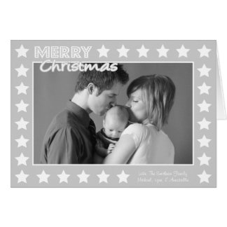 Carte de Noël de cadre d étoile gris argenté