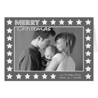 Carte de Noël de cadre d'étoile (grise)