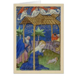 Carte de Noël de manuscrit lumineux de nativité