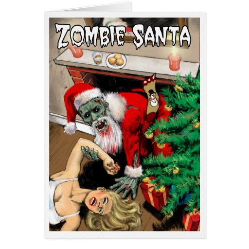 Carte de Noël de Père Noël de zombi