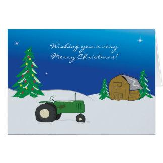 Carte de Noël de tracteur : Scène de grange