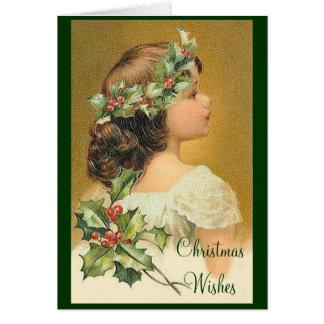 Carte de Noël démodée de fille de houx