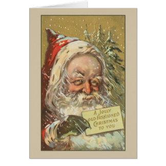 Carte de Noël démodée vintage de Père Noël