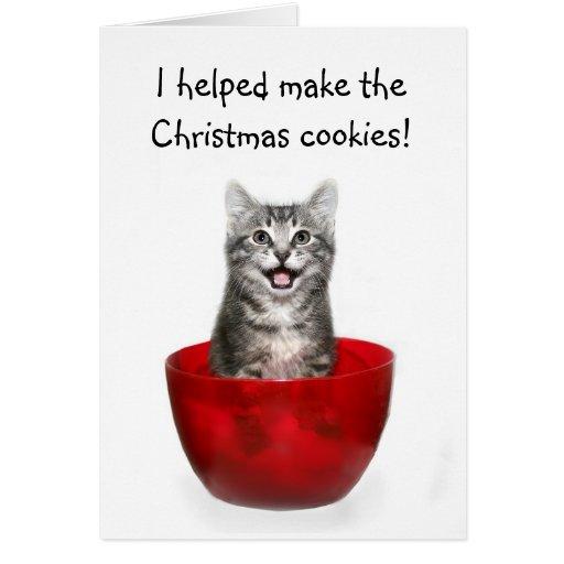 Carte de Noël drôle de chaton