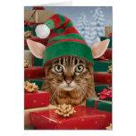 Carte de Noël du l'Elf-Chat de Père Noël