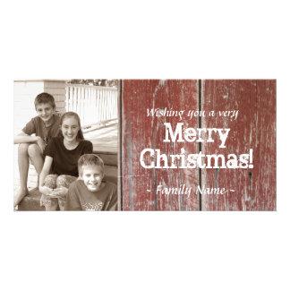 Carte de Noël en bois de photo de grange rouge Photocarte