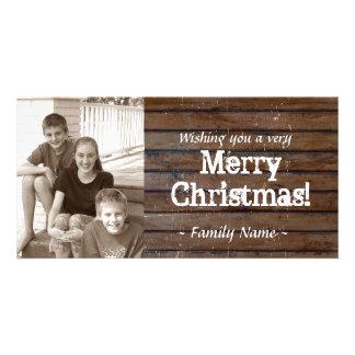 Carte de Noël en bois foncée de photo Modèle Pour Photocarte