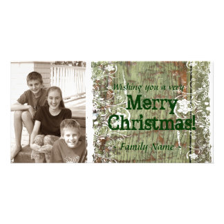 Carte de Noël en bois vintage de photo Modèle Pour Photocarte