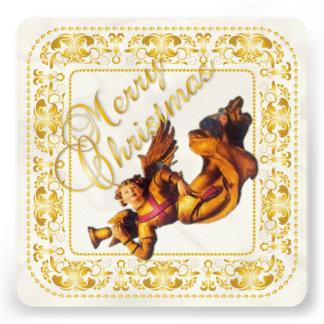 Carte de Noël et carte de l ornement 2 d ange - or Invitations Personnalisables