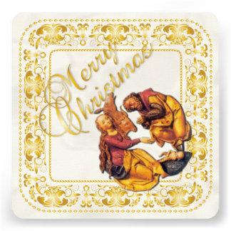 Carte de Noël et ornement de nativité - or - carte Carton D'invitation