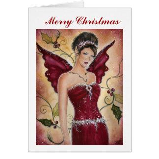 Carte de Noël féerique de houx rouge par Renee